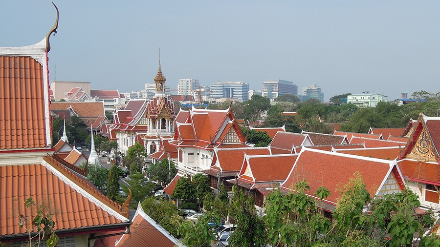wat chana songkhram aerial view