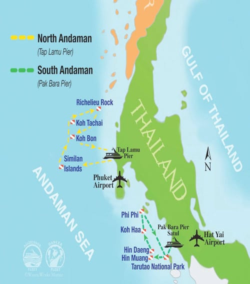 Thailand Aggressor Itinerary Map